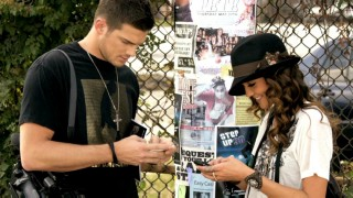 "Rick Malambri and Sharni Vinson text their pals about an upcoming dance event in the music video for Roscoe Dash, T-Park, and Fabo's ""My Own Step."""