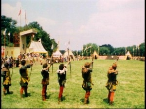 Arrows fly in the royal archery competition.