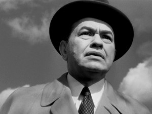 "In ""The Stranger"", Edward G. Robinson plays Mr. Wilson, a UN War Crimes Commission agent on the prowl."