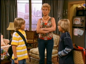 Carey (Kim Rhodes) stands firmly on middle ground during her twin sons' frequent bickering.