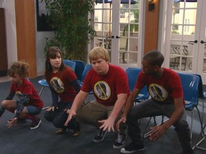 "Zora (Allisyn Ashley Arm), Sonny (Demi Lovato), Grady (Doug Brochu) and Nico (Brandon Smith) practice their musical chairs techniques in preparation for a match against the cast of ""Mackenzie Falls."""