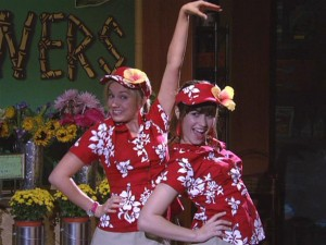 "Tawni (Tiffany Thornton) and Sonny (Demi Lovato) perform their signature ""Check-It-Out Girls"" sketch to much acclaim."