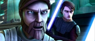 "Though Ewan McGregor isn't back in ""Star Wars: The Clone Wars"", his looks and Scottish accent are. This movie opens with Obi-Wan Kenobi and Anakin Skywalker warding off unclear droid attacks."