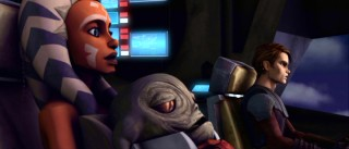 Headstrong Padawan Ahsoka Tano holds Jabba the Hutt's kidnapped son Retta while Anakin pilots their flight. Those preferring the film's nicknames, these are Snips, Stinky, and Skyguy.
