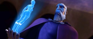 Count Dooku (voiced by and resembling Christopher Lee) consults the little holographic woman he holds in his hand.