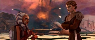 The explosion from a detonated deflector shield serves as backdrop to the bickering master/pupil relationship of Ahsoka and Anakin. Look out, Amidala!