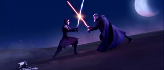 Good and evil engaging in a climactic lightsaber duel... you've never seen this before!