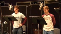 Voice actors Matt Lanter (Anakin Skywalker) and James Arnold Taylor (Obi-Wan Kenobi) act out a scene together.