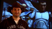 Fedora-loving director Dave Filoni talks in front of clone soldiers in one of the six Webisodes.