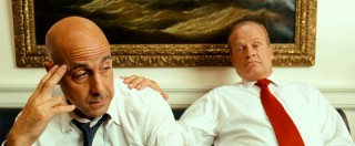 President Andrew Boone (Kelsey Grammer) offers a supportive hand on the shoulder of the seasoned campaign manager (Stanley Tucci) who has to figure out how to win a single man's vote.