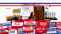 With well-picked character moments and listings resembling endorsement signs, the Swing Vote DVD main menu should earn a high approval rating.