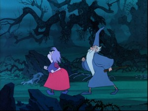 "Mim and Merlin pace off for a wizards' duel, one of ""The Sword in the Stone""'s greatest scenes."