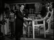 "Walt Disney causes a table to levitate in ""All About Magic"" a Disneyland anthology episode excerpt inexplicably truncated here."