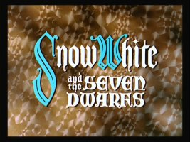 "The title card for ""Snow White and the Seven Dwarfs"", Walt Disney's first full-length animated movie."