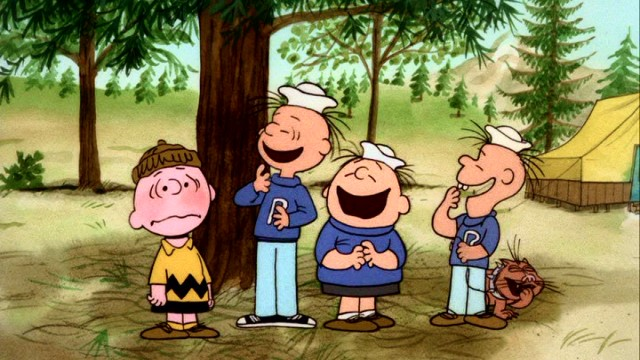 Upon arriving at Camp Remote, Charlie Brown is ridiculed by three bullies and their cat.