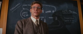When he's not off on globetrotting adventure, Indiana Jones (Harrison Ford) is a college professor.