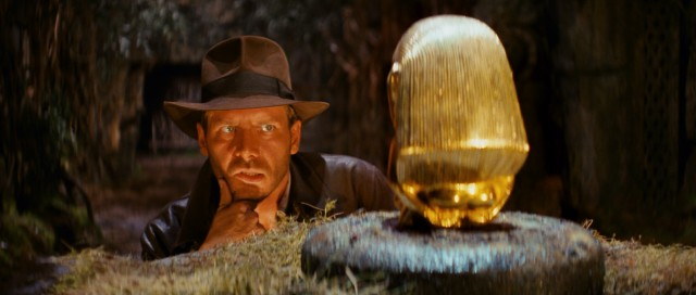 Before taking off priceless artifacts, Indiana Jones (Harrison Ford) has to think about his life.