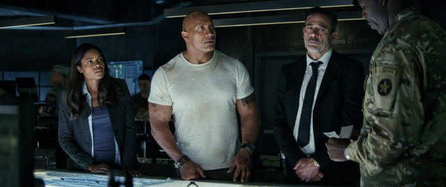 "In ""Rampage"", a disgraced scientist (Naomie Harris), a conscientious primatologist (Dwayne Johnson), and a southern government agent (Jeffrey Dean Morgan) have to deal with the military regarding some rapidly growing monsters."