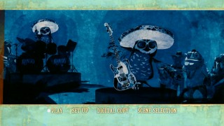 The film's stylish end credits imagery adorns Blu-ray and DVD menu alike, the latter (seen here) practically a bonus feature in the absence of on-disc ones.