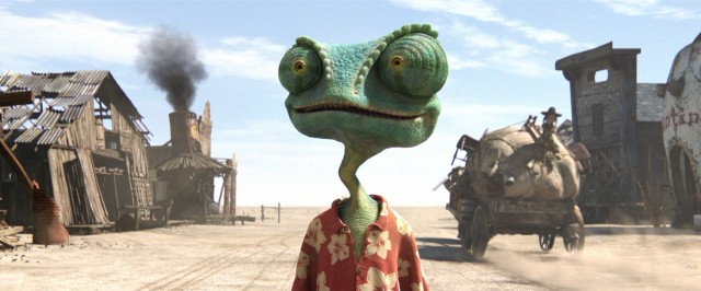 Rango (voiced by Johnny Depp) takes in the sights and sounds of the desert town Dirt.