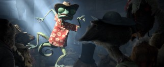 The ever-theatrical Rango regales Dirt's saloon with made-up tales of derring-do.