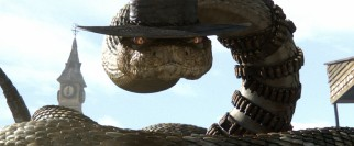 Rattlesnake Jake (modeled after Lee Van Cleef and voiced by Bill Nighy) may seem meant to make impact in 3D, but the film was neither made in nor converted to that format.