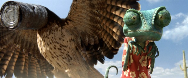A tin can provides Rango with a brief respite from a hawk's pursuit.