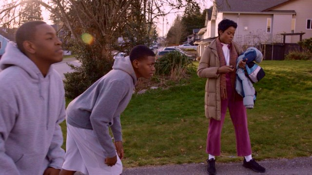 Wanda Durant (Cassandra Freeman) encourages her two sons to chase their dreams, one uphill run at a time.