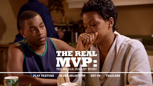 An emotional Wanda Durant (Cassandra Freeman), the real MVP, is comforted by her teenage son Tony (Demarius Mack) on The Real MVP: The Wanda Durant Story DVD's main menu.