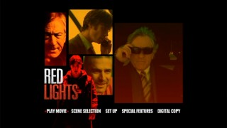 The Red Lights DVD main menu plays clips in three rectangles.