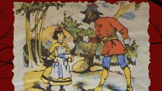 This vintage illustration speaks of the endurance of the Little Red Riding Hood fairy tale, something the movie cares little about.
