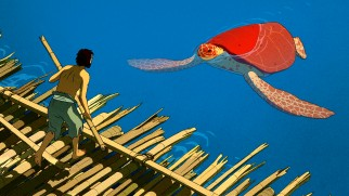 The Red Turtle's poster design serves as the Blu-ray's top menu, with over four minutes of score laid over it.