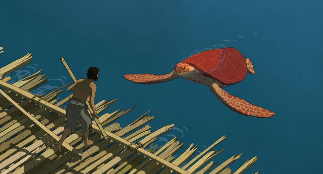 "An island castaway encounters a giant red turtle in the Academy Award-nominated animated film ""The Red Turtle."""