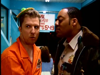 Deputy Jones (Cedric Yarbrough) questions frequent troublemaker Terry Bernadino (Nick Swardson) at a Mexican restaurant.
