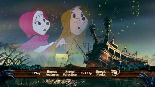 Bianca and Bernard keep dry among fireworks above the abandoned river boat of the new Rescuers DVD main menu.