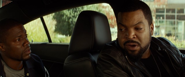"The excitable Ben (Kevin Hart) gets placed in the back of James' (Ice Cube) car in ""Ride Along."""