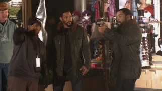 "Ice Cube and his stunt double take direction on an action scene in ""An Explosive Ride."""
