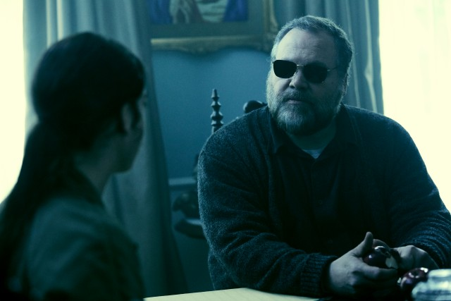 You can bet this old blind man (Vincent D'Onofrio) has some secrets and skeletons in the closet.