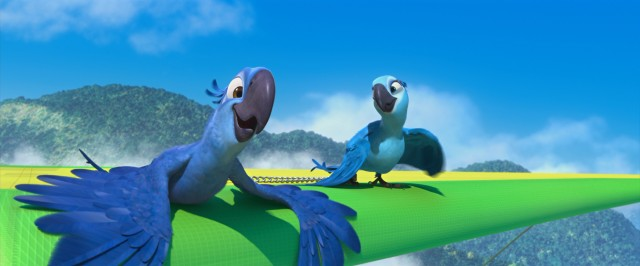 Since Blu can't fly, he and Jewel make do otherwise, soaring over Rio de Janeiro on a hang glider.