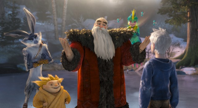 "Bunny, Sandman, North, and Tooth welcome Jack Frost into their midst in DreamWorks Animation's ""Rise of the Guardians."""