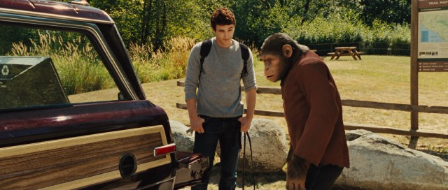 "In ""Rise of the Planet of the Apes"", San Francisco scientist Will Rodman (James Franco) raises intelligent chimpanzee Caesar (Andy Serkis) like his son, complete with Muir Woods National Monument outings."