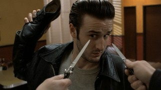 Dude (David Arquette) seems to have brought a shoe to a switchblade fight.