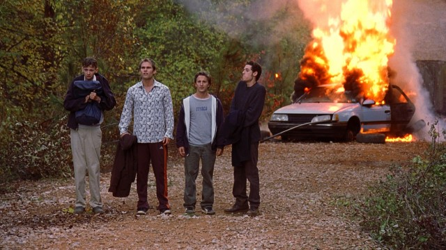 The guys' cross-country road trip hits a snag when Kyle's car goes up in flames.