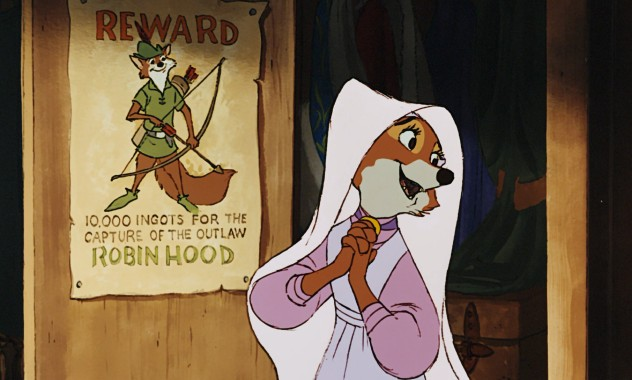 "Maid Marian is in love with an outlaw who has a 10,000 ingot reward out for his capture in Disney's 1973 ""Robin Hood."""