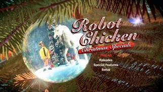 The Nerd and unicorn ornament from the latest Christmas special's opening credits serves as fitting main menu image.