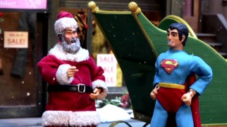 Santa Claus and Superman hold a race to see who's faster.