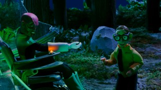 A dying Abin Sur passes on his Green Lantern superpowers to Robot Chicken's Nerd.