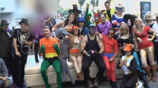"In ""Stoopid Alter Egos"", Robot Chicken crew members don DC Comics superhero costumes on Hollywood Boulevard to promote their work."