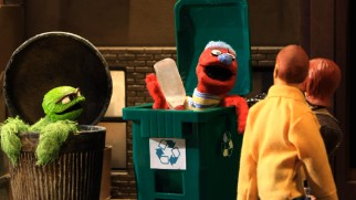 A recycling bin monster next to Oscar the Grouch doesn't catch on over at Sesame Street.