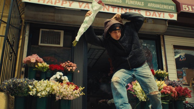 Tommy (Michael Pitt) is wished a Happy Valentine's Day upon exiting the florist he just robbed in the film's opening scene.